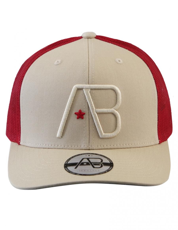 AB cap Retro Trucker - old gold - cherry red