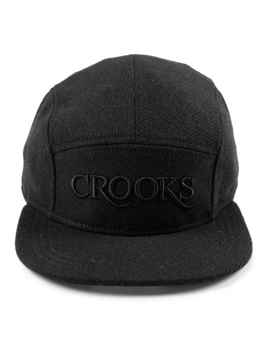 Crooks & Castles Serif tweed 5 panel cap black