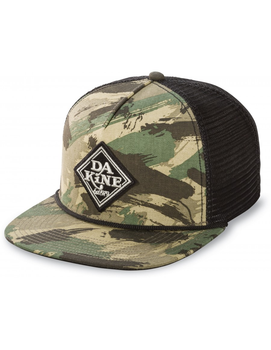 Dakine Classic Diamond flat bill trucker cap - camo black