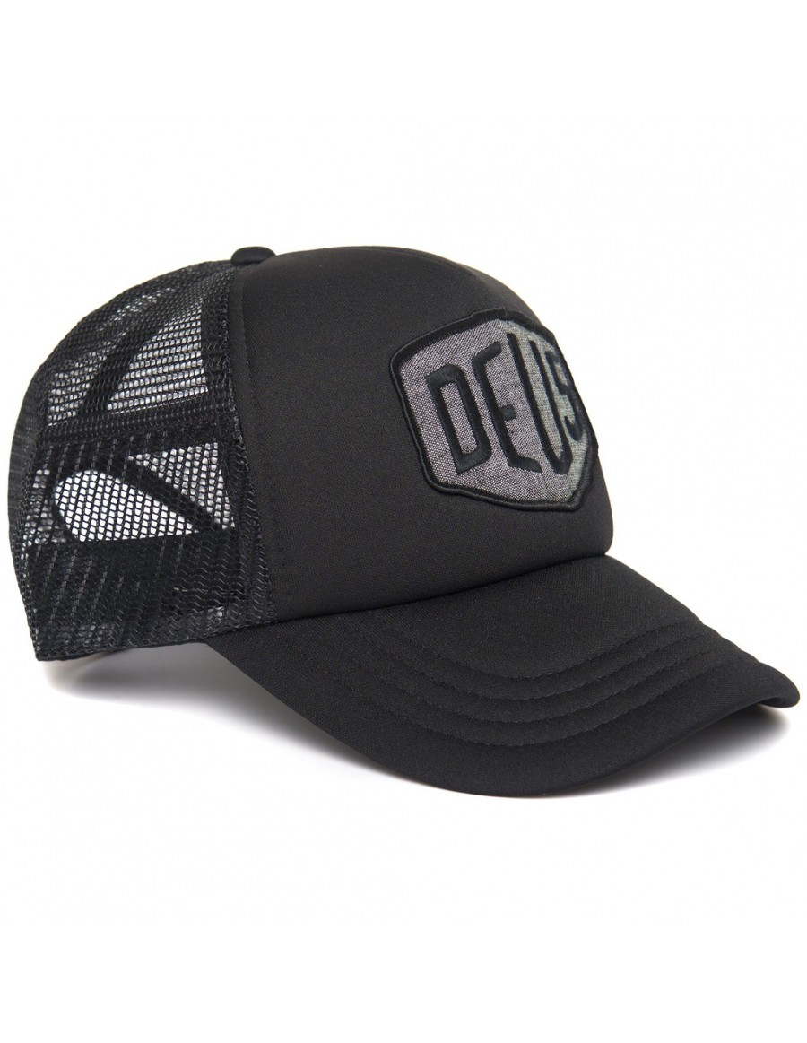 DEUS Trucker Kappe Chambray Shield - Black