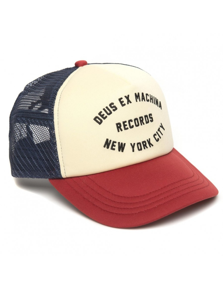 DEUS Kappe Trucker NYCITY - red navy