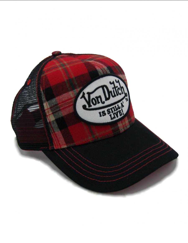 Von Dutch Red Flannel trucker cap - red black