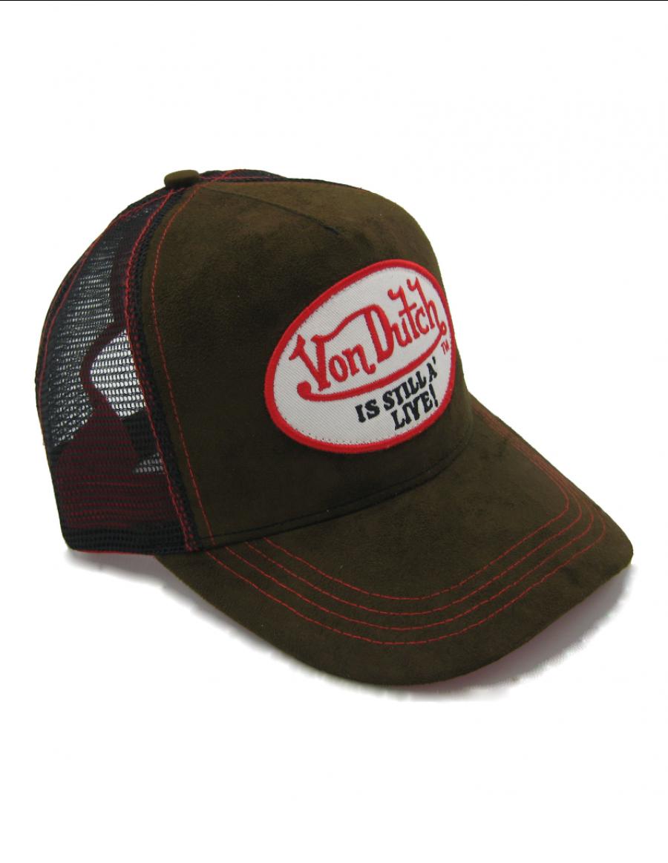 Von Dutch Still Alive Leather trucker cap - brown